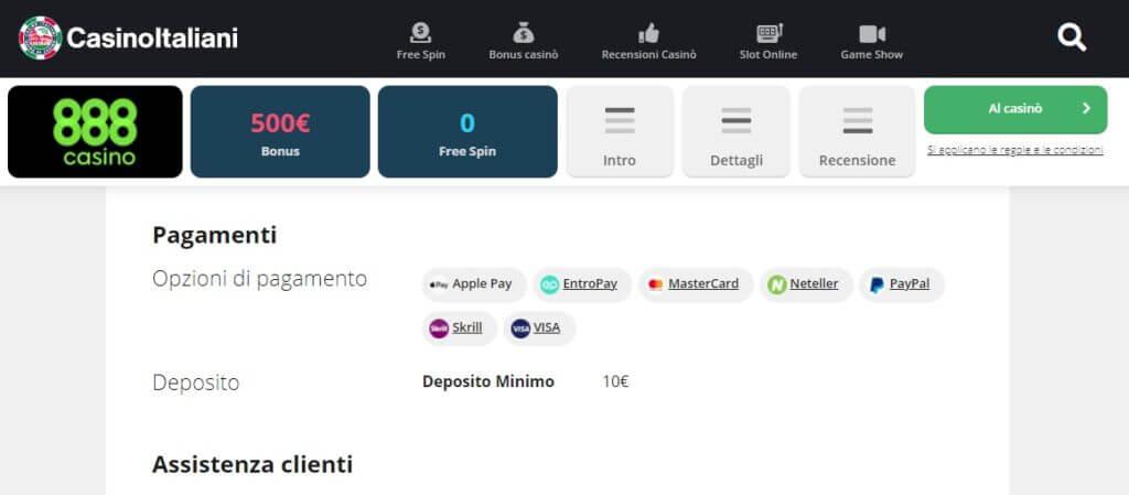 Le modalità di pagamento del casinò 888, recensito su Casinoitaliani.