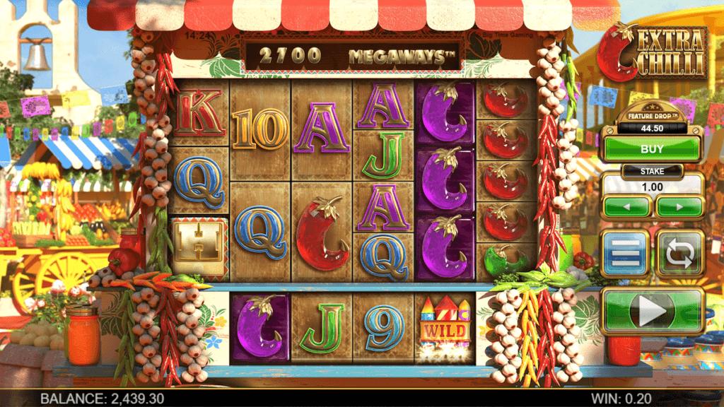 Schermata iniziale della slot acquisto bonus Extra Chilli