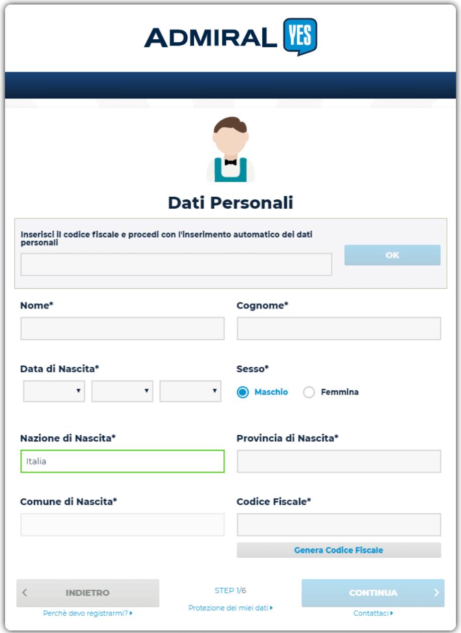 Admiral Yes - Form di Registrazione