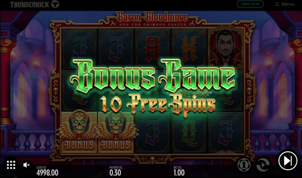 Sotto con i giri gratuiti della slot online Baron Bloodmore and the Crimson Castle!