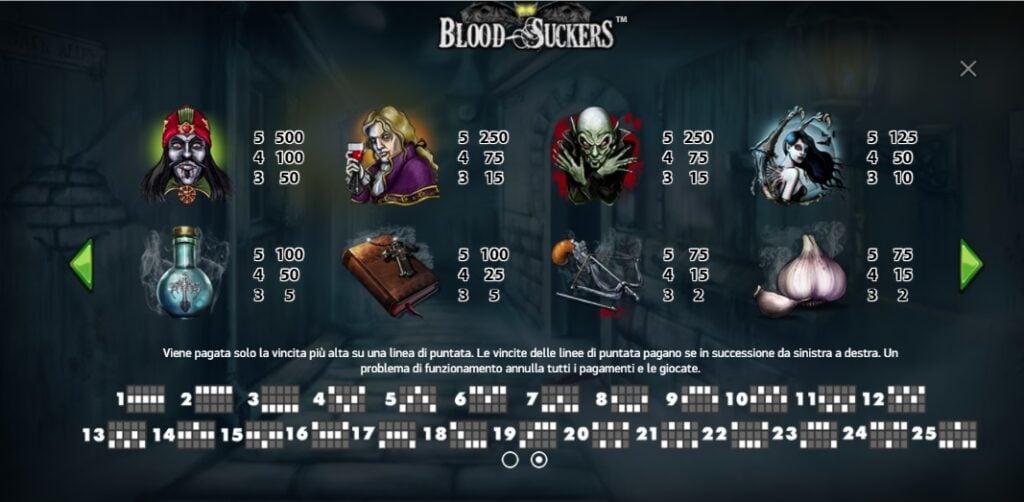 Simboli e linee di pagamento della Blodd Suckers slot.