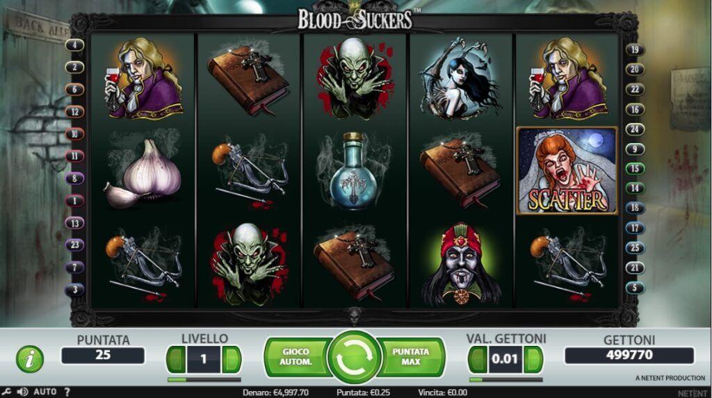Una sessione di gioco alla video slot Blood Suckers.