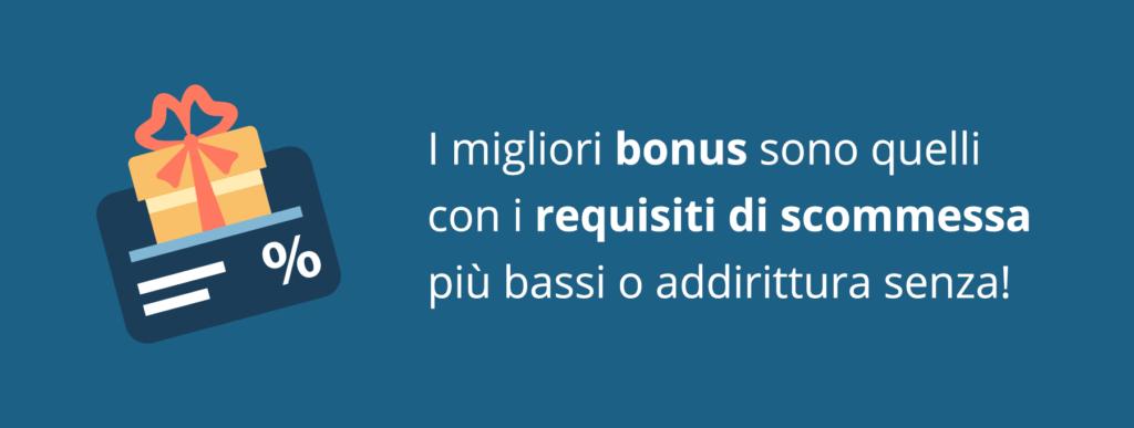 I bonus con basso requisito di scommessa al casinò online
