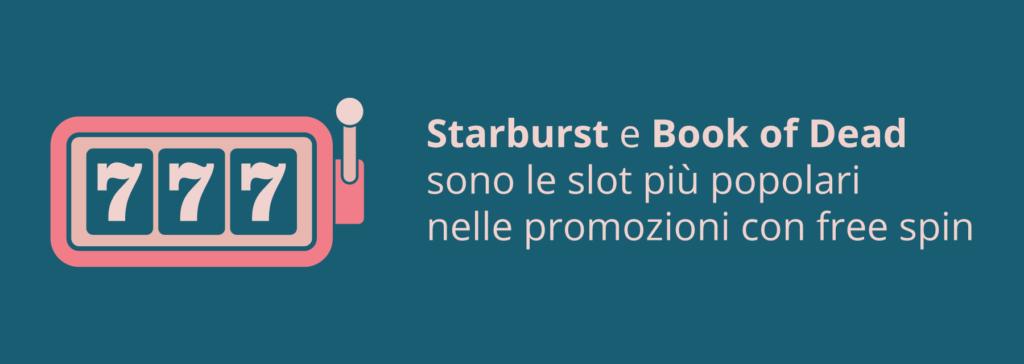 Le slot più popolari nelle promozioni con free spin - Starburst e Book of Dead