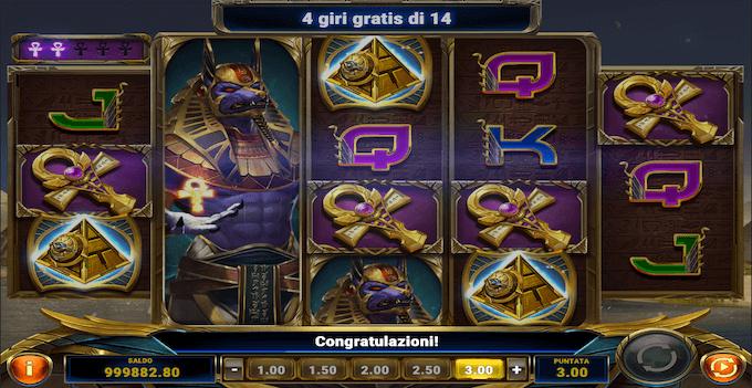 La slot machine Ankh of Anubis - Free spin