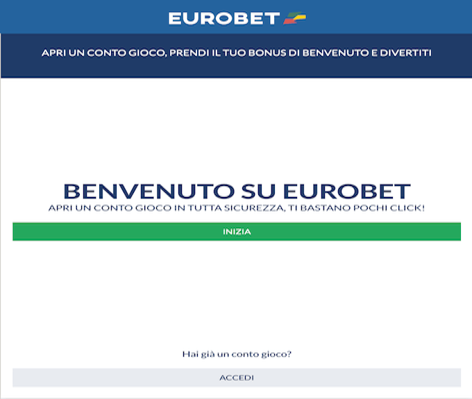 Registrazione account su Eurobet.it