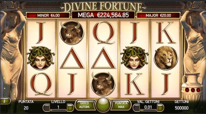 La schermata iniziale di Divine Fortune