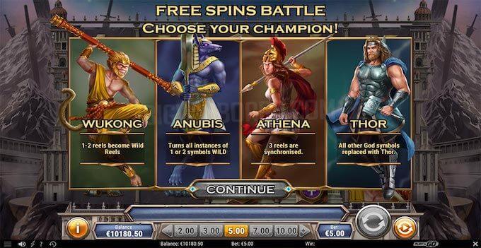 Divine Showdown - La modalità Free Spins Battle