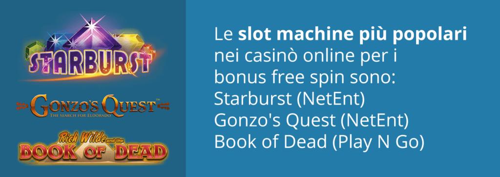 Altre slot popolari per i free spin in Italia - Starburst, Book of Dead e Gonzo's Quest