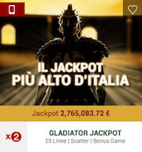 Il jackpot progressivo di Gladiator