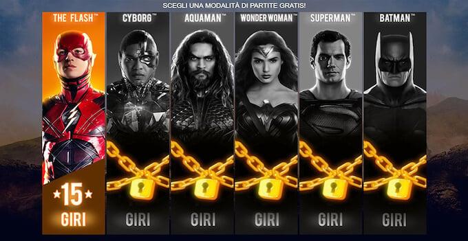 I free spin della slot machine Justice League