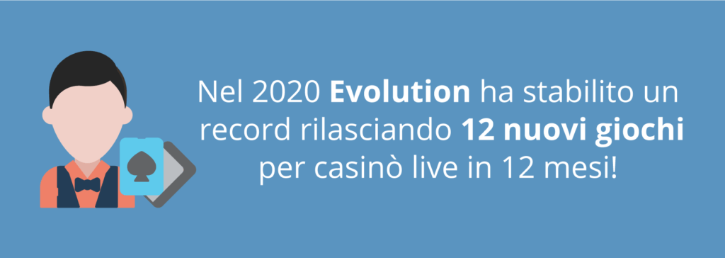 Evolution ha creato ben 12 tavoli da gioco live nel 2020