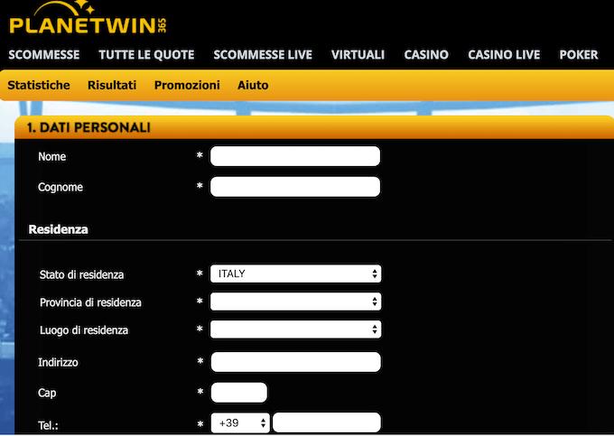 Planetwin 365 - La pagina di Registrazione