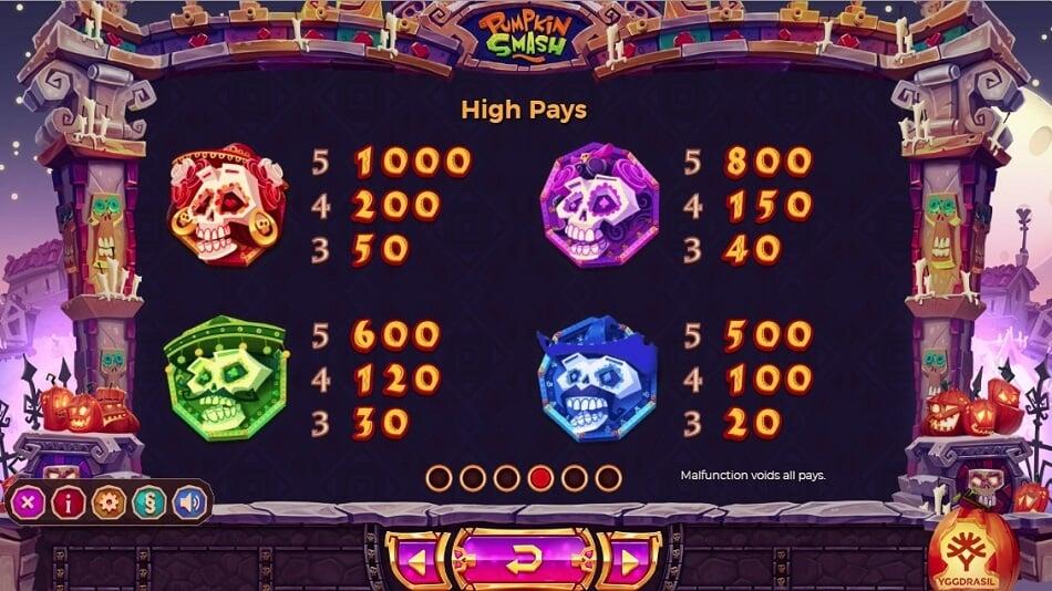 I simboli a tema paganti della slot online Pumpkin Smash.