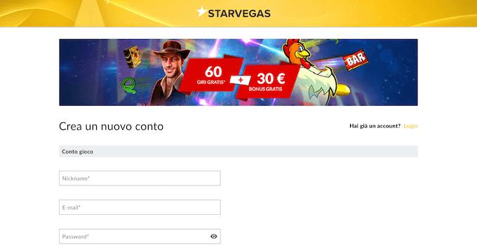 La pagina di registrazione su Starvegas