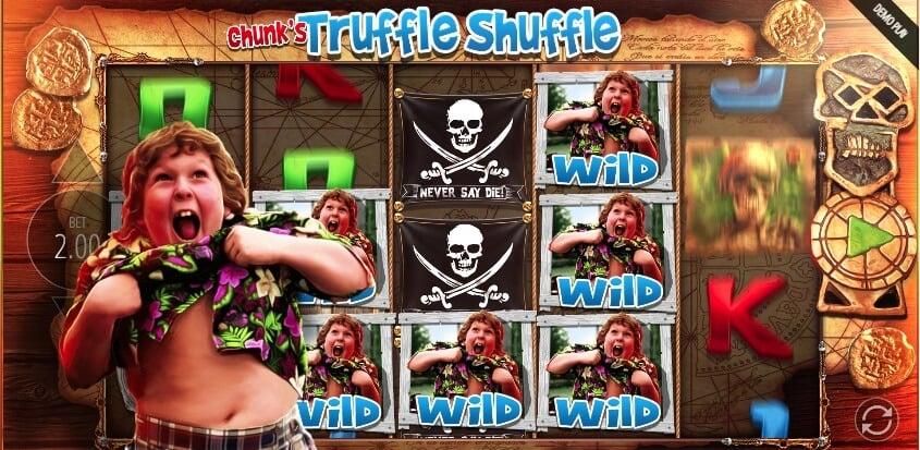 La funzionalità Chunk's Truffle Shuffle, attivata dai simboli Wild sulla slot The Goonies.