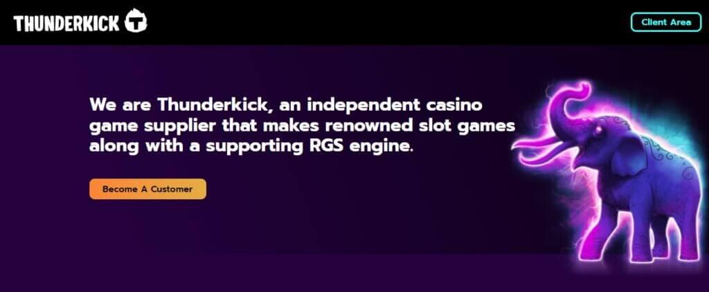 Interfaccia del sito della software house Thunderkick.