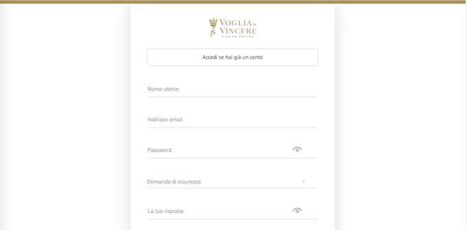 La pagina di registrazione di un nuovo account su Voglia di Vincere